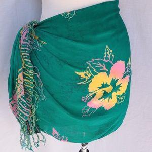 Floral Hawaiian Fringe Scarf Wrap